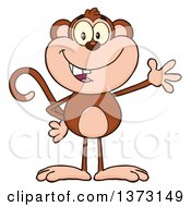 Cartoon Clipart Of A Happy Monkey Mascot Waving Royalty Free Vector Illustration by Hit Toon