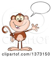Cartoon Clipart Of A Happy Monkey Mascot Talking And Waving Royalty Free Vector Illustration by Hit Toon