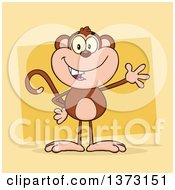 Cartoon Clipart Of A Happy Monkey Mascot Waving Over Yellow Royalty Free Vector Illustration by Hit Toon