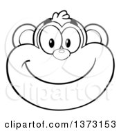 Cartoon Clipart Of A Black And White Happy Monkey Mascot Face Smiling Royalty Free Vector Illustration by Hit Toon