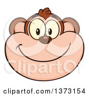 Cartoon Clipart Of A Happy Monkey Mascot Face Smiling Royalty Free Vector Illustration by Hit Toon