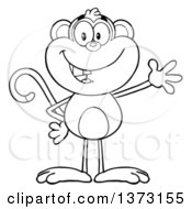 Cartoon Clipart Of A Black And White Happy Monkey Mascot Waving Royalty Free Vector Illustration by Hit Toon