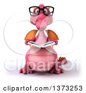 Clipart Of A 3d Pink Dragon Wearing Glasses And Reading A Book On A White Background Royalty Free Illustration