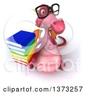 Clipart Of A 3d Pink Dragon Wearing Glasses And Holding Up A Stack Of Books On A White Background Royalty Free Illustration