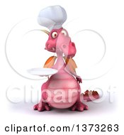 Clipart Of A 3d Pink Dragon Chef Holding A Plate On A White Background Royalty Free Illustration