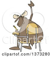Clipart Of A Cartoon Student Moose With A Question Raising A Hoof At A Desk Royalty Free Vector Illustration
