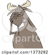 Clipart Of A Cartoon Scared Moose Covering His Face Royalty Free Vector Illustration