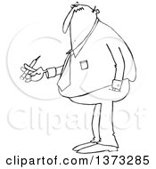 Cartoon Black And White Chubby Business Man Smoking A Cigarette