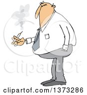 Clipart Of A Cartoon Chubby White Business Man Smoking A Cigarette Royalty Free Vector Illustration