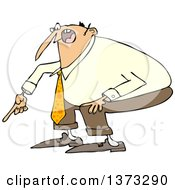 Clipart Of A Cartoon Angry White Business Man Yelling And Pointing At The Ground Royalty Free Vector Illustration