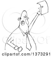 Clipart Of A Cartoon Black And White Angry Business Man Shouting And Holding Up A Document Royalty Free Vector Illustration