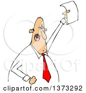 Clipart Of A Cartoon Angry White Business Man Shouting And Holding Up A Document Royalty Free Vector Illustration