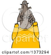 Clipart Of A Cartoon Scared Black Man Covering His Face Royalty Free Vector Illustration by djart