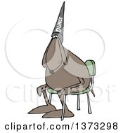 Clipart Of A Cartoon Dog Wearing A Dunce Hat And Sitting In A Chair Royalty Free Vector Illustration