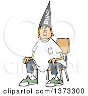Clipart Of A Cartoon Blond Caucasian Boy Wearing A Dunce Hat And Sitting In A Chair Royalty Free Vector Illustration