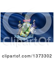 Clipart Of A 3d Rippling State Flag Of Maine USA Royalty Free Illustration by stockillustrations