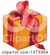Clipart Of A Gift Box Wrapped In Orange Paper And A Red Bow And Ribbon Royalty Free Vector Illustration
