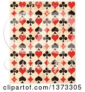 Clipart Of A Grungy Background Of Black And Red Playing Card Suit Icons Over Beige Royalty Free Vector Illustration by Pushkin