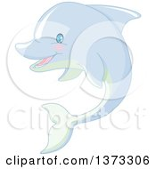 Clipart Of A Cute Happy Dolphin Royalty Free Vector Illustration by Pushkin