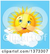 Cheerful Happy Sun With Puffy Clouds In A Blue Sky