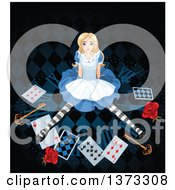 Clipart Of Alice Sitting On A Clock With Roses Keys And Playing Cards Royalty Free Vector Illustration by Pushkin