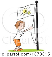 Cartoon Clipart Of A White Business Woman Running An Idea Up The Flag Pole Royalty Free Vector Illustration by Johnny Sajem