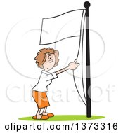 Cartoon Clipart Of A White Business Woman Running A White Flag Up A Pole Royalty Free Vector Illustration