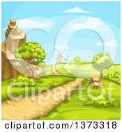 Clipart Of A Hilly Rural Road And Landscape With A Windmill Royalty Free Vector Illustration by merlinul