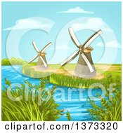 Clipart Of A Creek Or Stream With Windmills Royalty Free Vector Illustration by merlinul