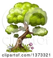 Clipart Of A Tree With Mushrooms And Grass Royalty Free Vector Illustration by merlinul