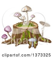 Clipart Of Different Mushrooms On A Tree Stump Royalty Free Vector Illustration by merlinul
