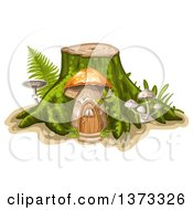 Clipart Of A Tree Stump With A Mushroom House And Ferns Royalty Free Vector Illustration by merlinul