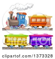 Clipart Of A Steam Engine Train And Cars Royalty Free Vector Illustration by merlinul