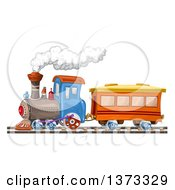 Clipart Of A Steam Engine Train Royalty Free Vector Illustration by merlinul