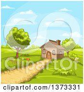 Clipart Of A Cottage House In A Hilly Rural Landscape Royalty Free Vector Illustration
