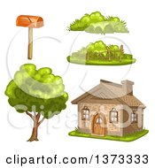 Clipart Of A Cottage House With Plants And A Mailbox Royalty Free Vector Illustration