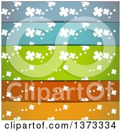 Background Of White St Patricks Day Shamrock Clovers On Different Colored Lines