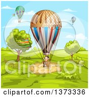 Clipart Of A Girl In A Hot Air Balloon In A Rural Landscape Royalty Free Vector Illustration by merlinul