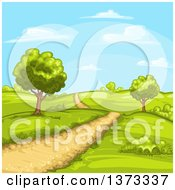 Dirt Road In A Hilly Country Landscape