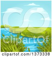 Clipart Of A Creek Or Stream With Aquatic Plants And A Green Landscape Royalty Free Vector Illustration