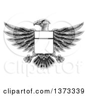 Clipart Of A Black And White Engraved Or Woodcut Heraldic Coat Of Arms American Bald Eagle With A Shield Body Royalty Free Vector Illustration