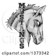 Clipart Of A Gray Mustang Horse Mascot With Text Royalty Free Vector Illustration