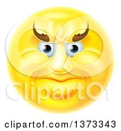 Clipart Of A 3d Yellow Smiley Emoji Emoticon Face With An Angry Expression Royalty Free Vector Illustration
