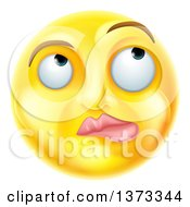 Clipart Of A 3d Yellow Smiley Emoji Emoticon Face Thinking Royalty Free Vector Illustration