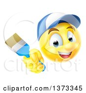 Clipart Of A 3d Painter Yellow Smiley Emoji Emoticon Face Holding A Brush Royalty Free Vector Illustration by AtStockIllustration