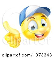 Clipart Of A 3d Mechanic Yellow Smiley Emoji Emoticon Face Giving A Thumb Up Royalty Free Vector Illustration