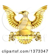Clipart Of A Golden Heraldic Coat Of Arms Eagle With A Shield And Banner Scroll Royalty Free Vector Illustration