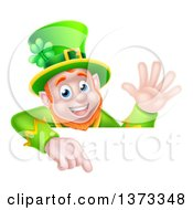 Cartoon Happy St Patricks Day Leprechaun Waving And Pointing Down Over A Sign