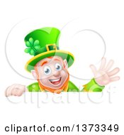 Cartoon Happy St Patricks Day Leprechaun Waving Over A Sign