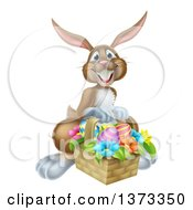 Clipart Of A Happy Brown Easter Bunny With A Basket Of Eggs And Flowers Royalty Free Vector Illustration by AtStockIllustration